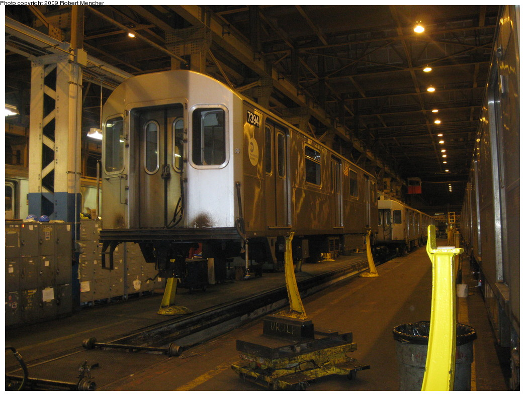 (238k, 1044x788)<br><b>Country:</b> United States<br><b>City:</b> New York<br><b>System:</b> New York City Transit<br><b>Location:</b> 207th Street Shop<br><b>Car:</b> R-142A (Primary Order, Kawasaki, 1999-2002)  7394 <br><b>Photo by:</b> Robert Mencher<br><b>Date:</b> 3/7/2009<br><b>Viewed (this week/total):</b> 1 / 1251