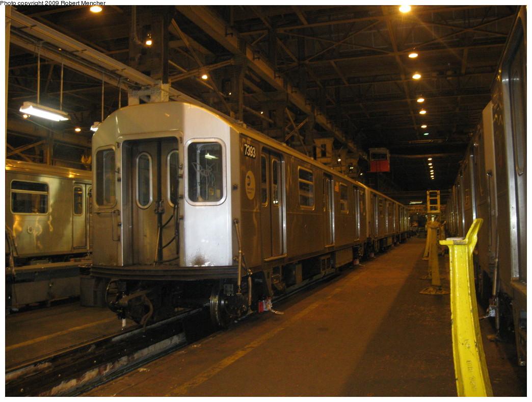 (223k, 1044x788)<br><b>Country:</b> United States<br><b>City:</b> New York<br><b>System:</b> New York City Transit<br><b>Location:</b> 207th Street Shop<br><b>Car:</b> R-142A (Primary Order, Kawasaki, 1999-2002)  7393 <br><b>Photo by:</b> Robert Mencher<br><b>Date:</b> 3/7/2009<br><b>Viewed (this week/total):</b> 3 / 1313