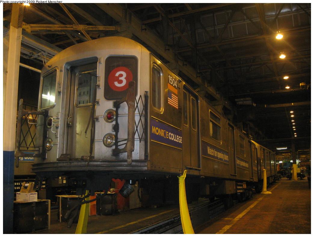 (227k, 1044x788)<br><b>Country:</b> United States<br><b>City:</b> New York<br><b>System:</b> New York City Transit<br><b>Location:</b> 207th Street Shop<br><b>Car:</b> R-62 (Kawasaki, 1983-1985)  1504 <br><b>Photo by:</b> Robert Mencher<br><b>Date:</b> 3/7/2009<br><b>Viewed (this week/total):</b> 0 / 854