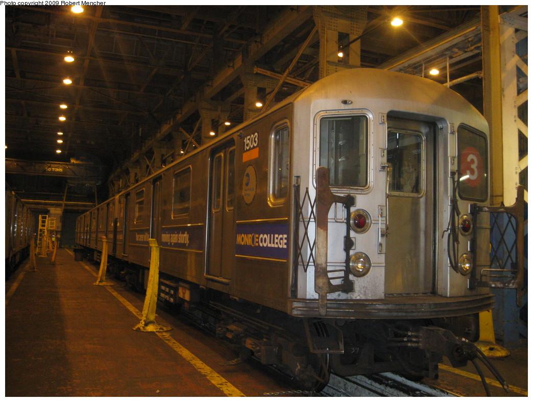 (230k, 1044x788)<br><b>Country:</b> United States<br><b>City:</b> New York<br><b>System:</b> New York City Transit<br><b>Location:</b> 207th Street Shop<br><b>Car:</b> R-62 (Kawasaki, 1983-1985)  1503 <br><b>Photo by:</b> Robert Mencher<br><b>Date:</b> 3/7/2009<br><b>Viewed (this week/total):</b> 2 / 819