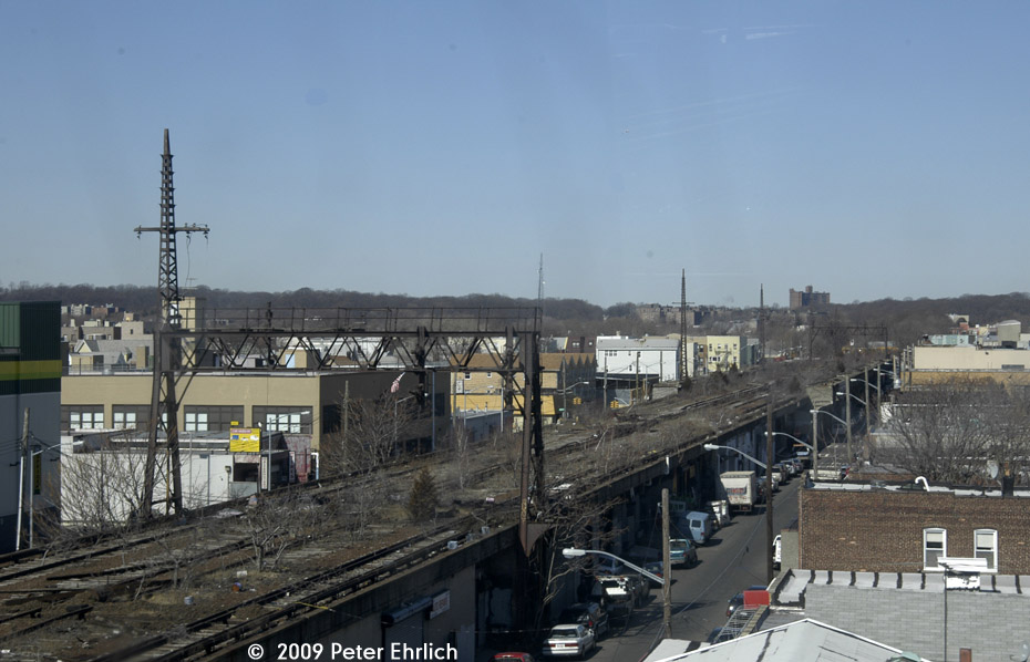 (171k, 930x598)<br><b>Country:</b> United States<br><b>City:</b> New York<br><b>System:</b> Long Island Rail Road<br><b>Line:</b> LIRR Rockaway<br><b>Location:</b> Ozone Park <br><b>Photo by:</b> Peter Ehrlich<br><b>Date:</b> 2/24/2009<br><b>Notes:</b> Former site of Ozone Park station, viewed from Lefferts Blvd. branch A train, looking north.<br><b>Viewed (this week/total):</b> 1 / 2278