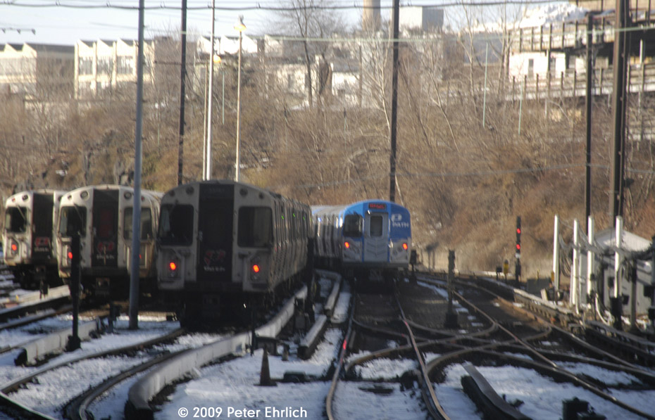 (205k, 930x597)<br><b>Country:</b> United States<br><b>City:</b> Jersey City, NJ<br><b>System:</b> PATH<br><b>Location:</b> Journal Square Yard <br><b>Car:</b> PATH PA-5 (Kawasaki, 2009-2011)  <br><b>Photo by:</b> Peter Ehrlich<br><b>Date:</b> 3/4/2009<br><b>Viewed (this week/total):</b> 0 / 1565