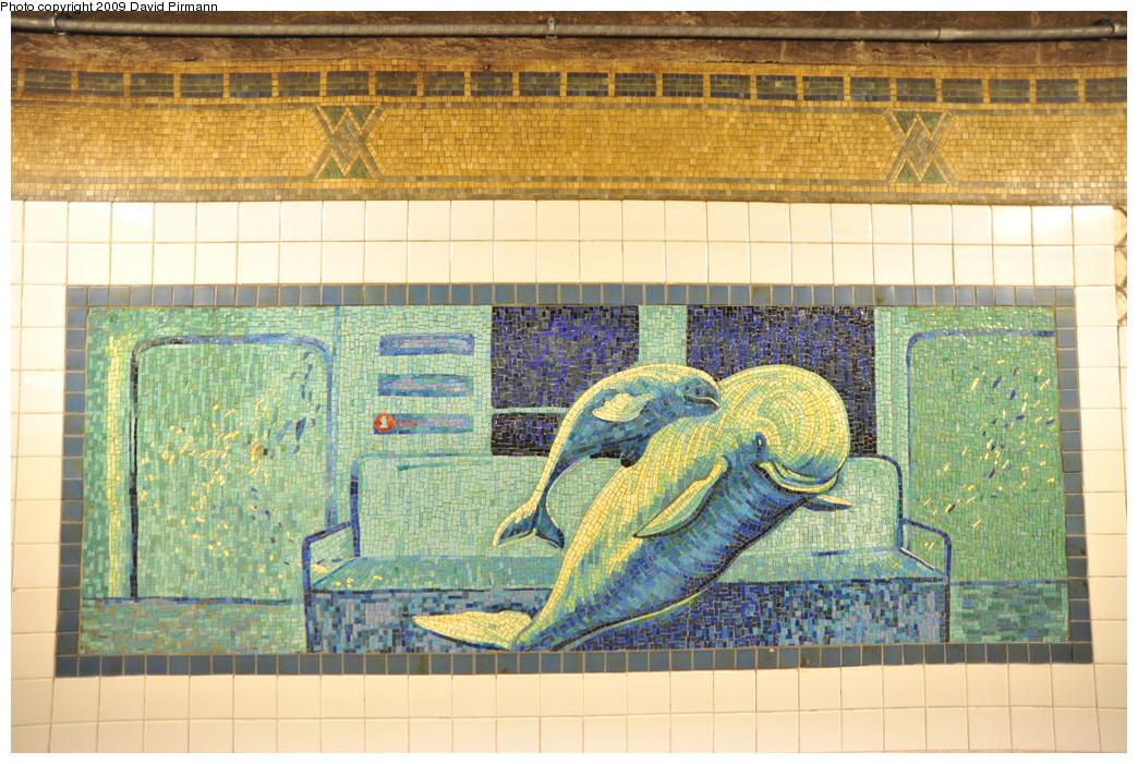 (327k, 1044x701)<br><b>Country:</b> United States<br><b>City:</b> New York<br><b>System:</b> New York City Transit<br><b>Line:</b> IRT West Side Line<br><b>Location:</b> Houston Street <br><b>Photo by:</b> David Pirmann<br><b>Date:</b> 3/15/2009<br><b>Artwork:</b> <i>Platform Diving</i>, Deborah Brown (1994).<br><b>Viewed (this week/total):</b> 2 / 335