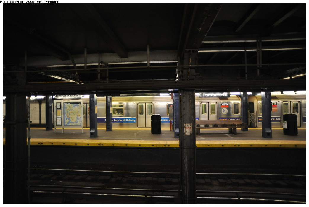 (193k, 1044x701)<br><b>Country:</b> United States<br><b>City:</b> New York<br><b>System:</b> New York City Transit<br><b>Line:</b> IRT West Side Line<br><b>Location:</b> Chambers Street <br><b>Route:</b> 1<br><b>Car:</b> R-62A (Bombardier, 1984-1987)  2316 <br><b>Photo by:</b> David Pirmann<br><b>Date:</b> 3/15/2009<br><b>Viewed (this week/total):</b> 0 / 1758