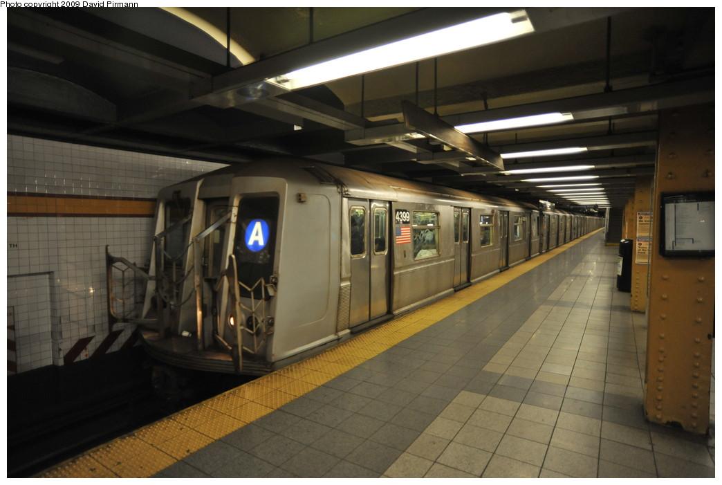 (219k, 1044x701)<br><b>Country:</b> United States<br><b>City:</b> New York<br><b>System:</b> New York City Transit<br><b>Line:</b> IND 8th Avenue Line<br><b>Location:</b> 14th Street <br><b>Route:</b> A<br><b>Car:</b> R-40 (St. Louis, 1968)  4399 <br><b>Photo by:</b> David Pirmann<br><b>Date:</b> 3/15/2009<br><b>Viewed (this week/total):</b> 0 / 1288