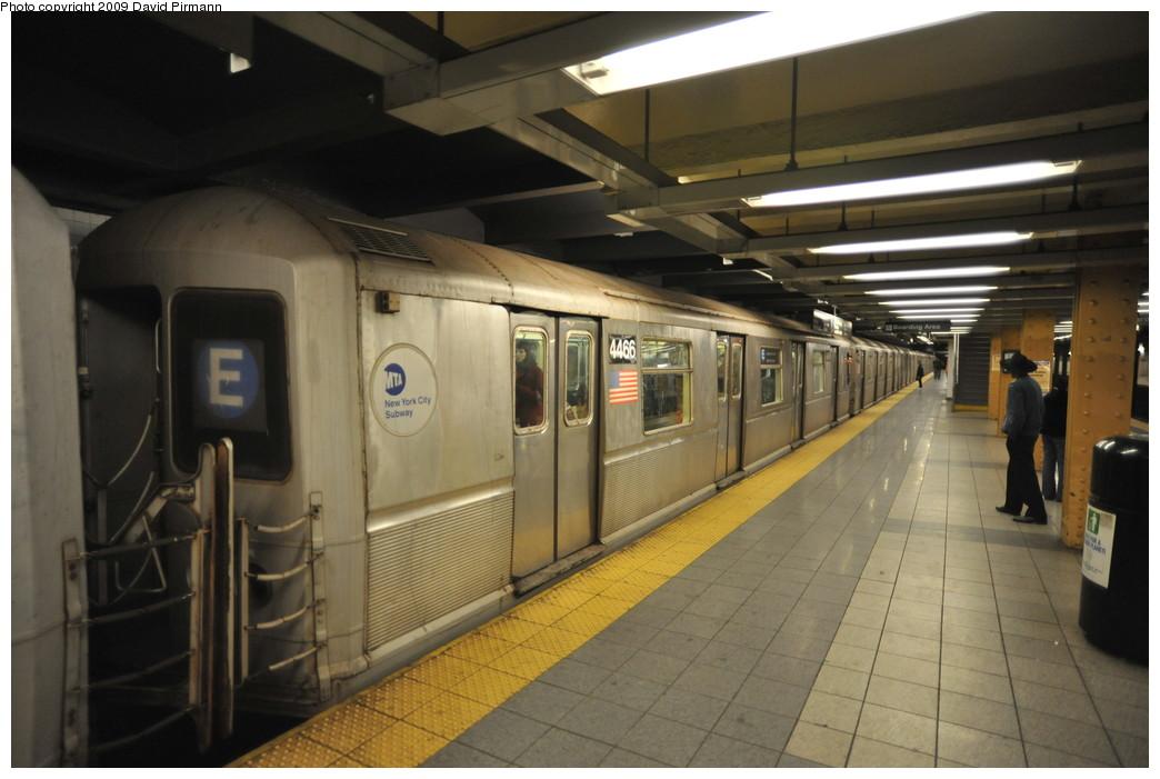 (221k, 1044x701)<br><b>Country:</b> United States<br><b>City:</b> New York<br><b>System:</b> New York City Transit<br><b>Line:</b> IND 8th Avenue Line<br><b>Location:</b> 14th Street <br><b>Route:</b> E<br><b>Car:</b> R-40M (St. Louis, 1969)  4466 <br><b>Photo by:</b> David Pirmann<br><b>Date:</b> 3/15/2009<br><b>Viewed (this week/total):</b> 0 / 1014