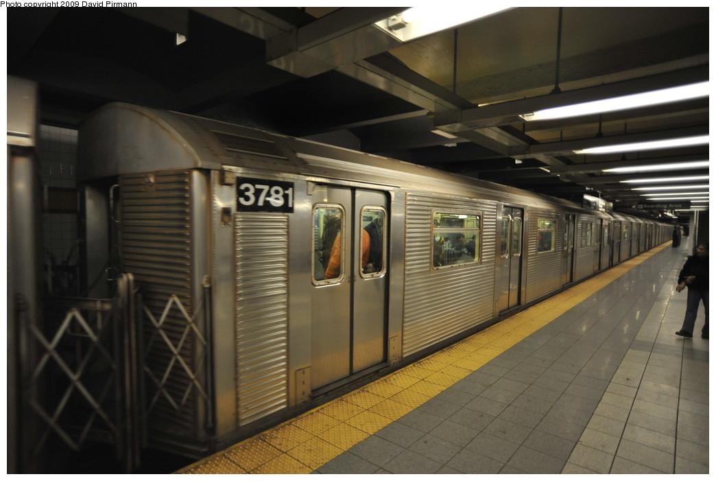 (222k, 1044x701)<br><b>Country:</b> United States<br><b>City:</b> New York<br><b>System:</b> New York City Transit<br><b>Line:</b> IND 8th Avenue Line<br><b>Location:</b> 14th Street <br><b>Route:</b> A<br><b>Car:</b> R-32 (Budd, 1964)  3781 <br><b>Photo by:</b> David Pirmann<br><b>Date:</b> 3/15/2009<br><b>Viewed (this week/total):</b> 0 / 907
