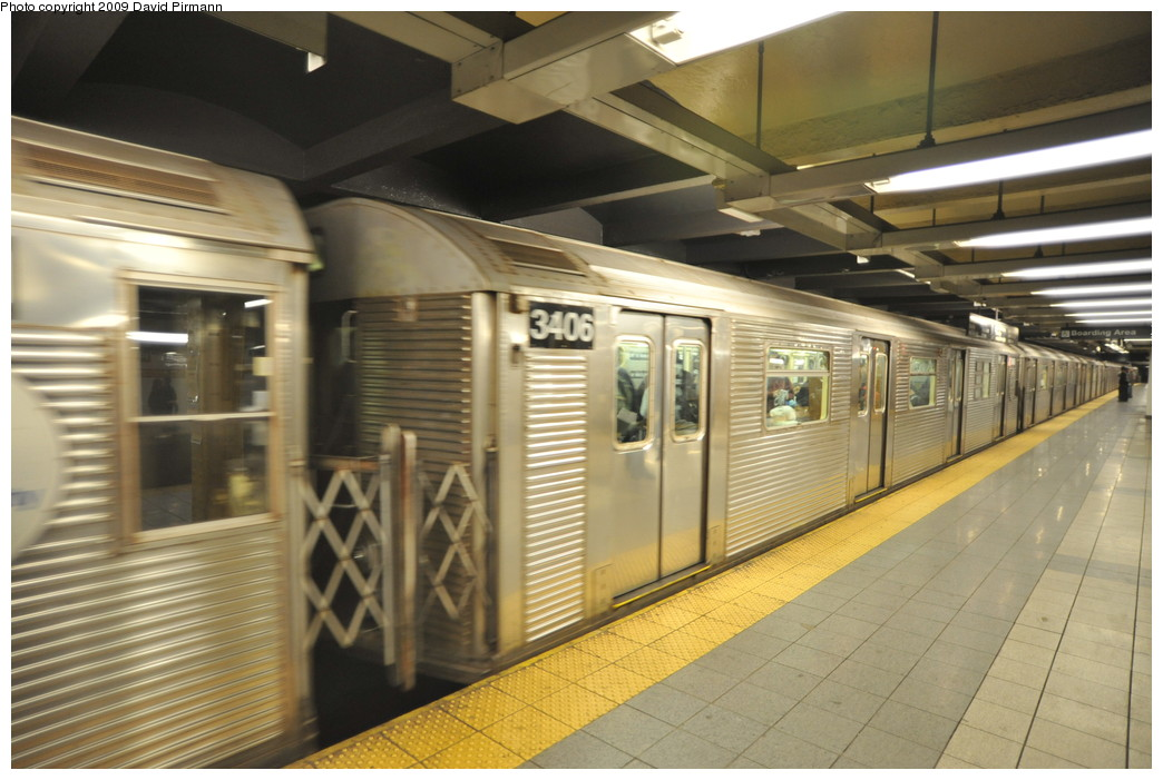 (246k, 1044x701)<br><b>Country:</b> United States<br><b>City:</b> New York<br><b>System:</b> New York City Transit<br><b>Line:</b> IND 8th Avenue Line<br><b>Location:</b> 14th Street <br><b>Route:</b> A<br><b>Car:</b> R-32 (Budd, 1964)  3406 <br><b>Photo by:</b> David Pirmann<br><b>Date:</b> 3/15/2009<br><b>Viewed (this week/total):</b> 0 / 961