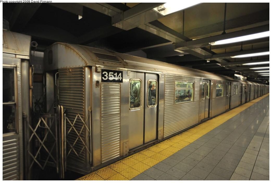 (237k, 1044x701)<br><b>Country:</b> United States<br><b>City:</b> New York<br><b>System:</b> New York City Transit<br><b>Line:</b> IND 8th Avenue Line<br><b>Location:</b> 14th Street <br><b>Route:</b> A<br><b>Car:</b> R-32 (Budd, 1964)  3514 <br><b>Photo by:</b> David Pirmann<br><b>Date:</b> 3/15/2009<br><b>Viewed (this week/total):</b> 0 / 916