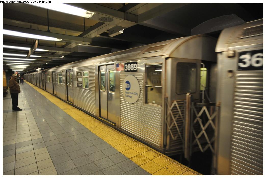 (250k, 1044x701)<br><b>Country:</b> United States<br><b>City:</b> New York<br><b>System:</b> New York City Transit<br><b>Line:</b> IND 8th Avenue Line<br><b>Location:</b> 14th Street <br><b>Route:</b> A<br><b>Car:</b> R-32 (Budd, 1964)  3669 <br><b>Photo by:</b> David Pirmann<br><b>Date:</b> 3/15/2009<br><b>Viewed (this week/total):</b> 0 / 937