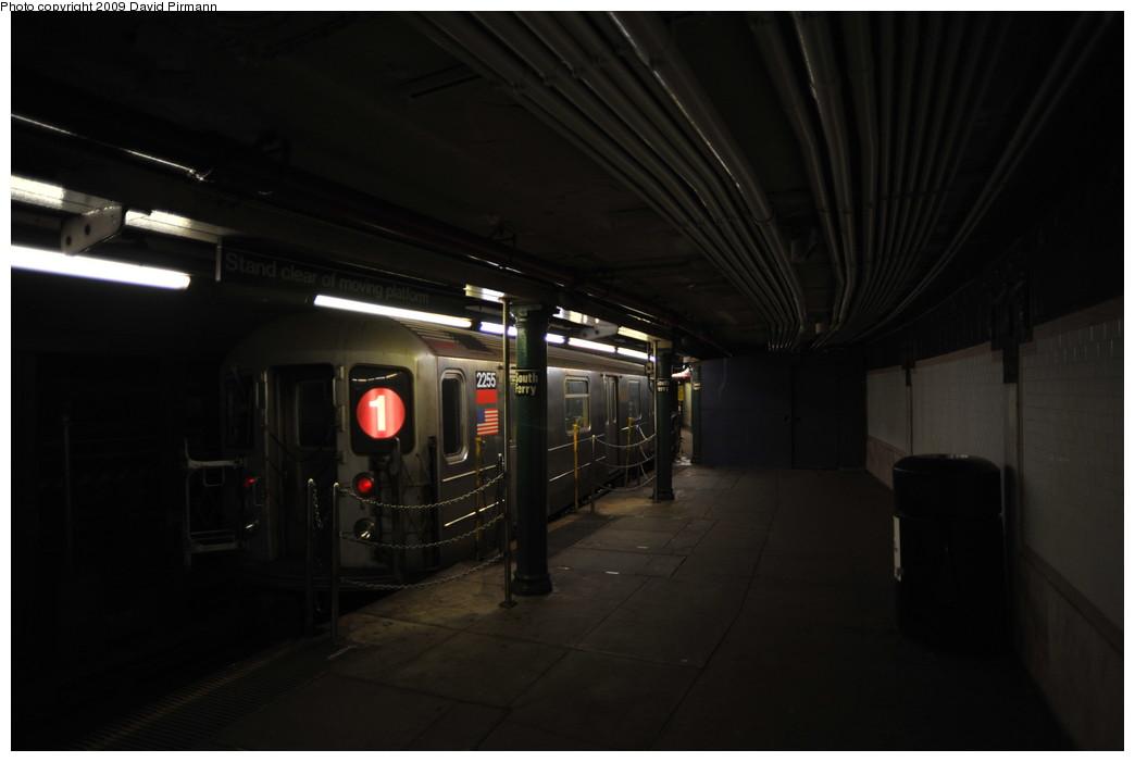 (159k, 1044x701)<br><b>Country:</b> United States<br><b>City:</b> New York<br><b>System:</b> New York City Transit<br><b>Line:</b> IRT West Side Line<br><b>Location:</b> South Ferry (Outer Loop Station) <br><b>Route:</b> 1<br><b>Car:</b> R-62A (Bombardier, 1984-1987)  2255 <br><b>Photo by:</b> David Pirmann<br><b>Date:</b> 3/15/2009<br><b>Notes:</b> Final day of revenue service at loop station.<br><b>Viewed (this week/total):</b> 2 / 1259