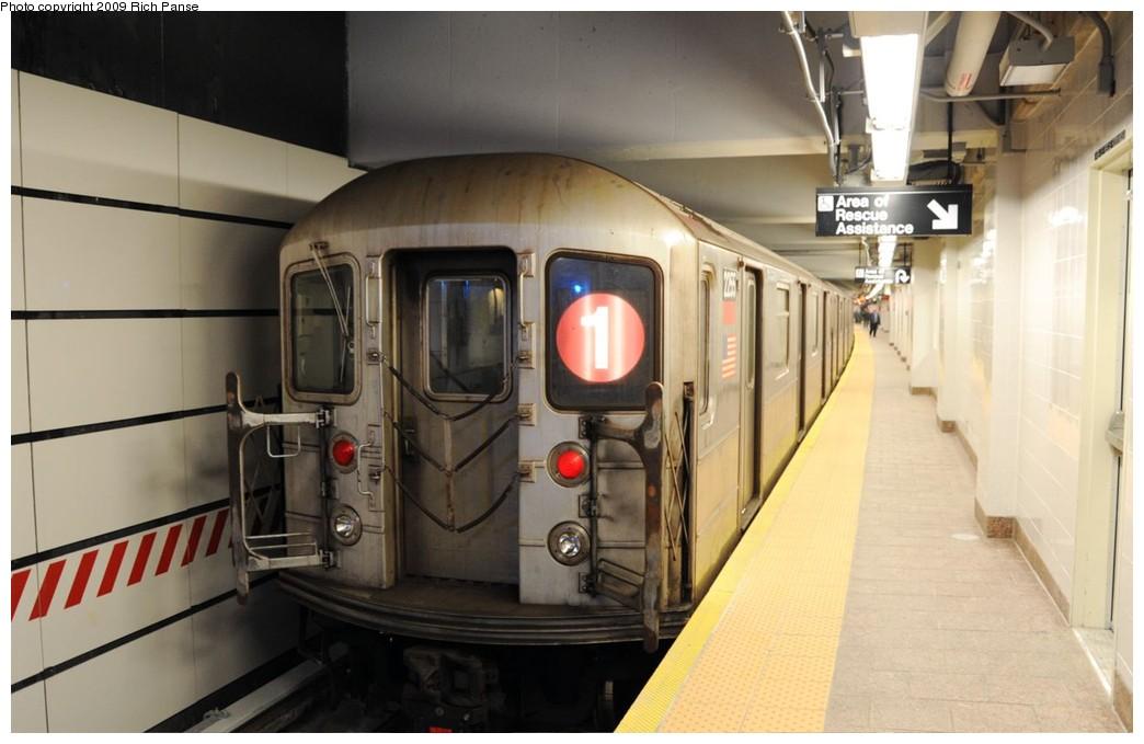 (145k, 1044x679)<br><b>Country:</b> United States<br><b>City:</b> New York<br><b>System:</b> New York City Transit<br><b>Line:</b> IRT West Side Line<br><b>Location:</b> South Ferry (New Station) <br><b>Route:</b> 1<br><b>Car:</b> R-62A (Bombardier, 1984-1987)  2255 <br><b>Photo by:</b> Richard Panse<br><b>Date:</b> 3/16/2009<br><b>Viewed (this week/total):</b> 0 / 1102