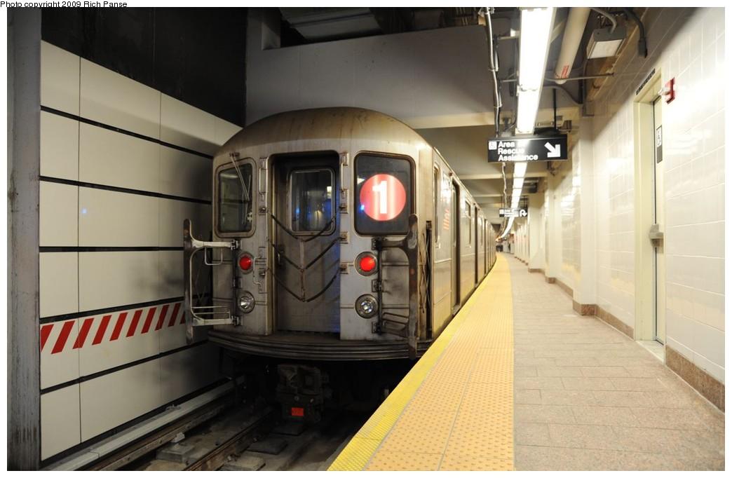 (148k, 1044x682)<br><b>Country:</b> United States<br><b>City:</b> New York<br><b>System:</b> New York City Transit<br><b>Line:</b> IRT West Side Line<br><b>Location:</b> South Ferry (New Station) <br><b>Route:</b> 1<br><b>Car:</b> R-62A (Bombardier, 1984-1987)  2255 <br><b>Photo by:</b> Richard Panse<br><b>Date:</b> 3/16/2009<br><b>Viewed (this week/total):</b> 0 / 1472