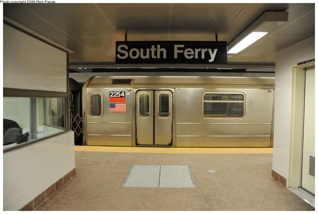 (188k, 1044x702)<br><b>Country:</b> United States<br><b>City:</b> New York<br><b>System:</b> New York City Transit<br><b>Line:</b> IRT West Side Line<br><b>Location:</b> South Ferry (New Station) <br><b>Route:</b> 1<br><b>Car:</b> R-62A (Bombardier, 1984-1987)  2254 <br><b>Photo by:</b> Richard Panse<br><b>Date:</b> 3/16/2009<br><b>Viewed (this week/total):</b> 4 / 1764