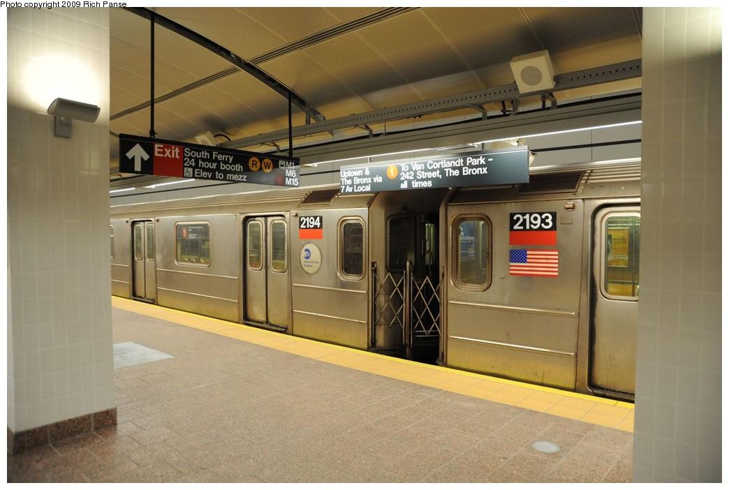 (199k, 1044x702)<br><b>Country:</b> United States<br><b>City:</b> New York<br><b>System:</b> New York City Transit<br><b>Line:</b> IRT West Side Line<br><b>Location:</b> South Ferry (New Station) <br><b>Route:</b> 1<br><b>Car:</b> R-62A (Bombardier, 1984-1987)  2194 <br><b>Photo by:</b> Richard Panse<br><b>Date:</b> 3/16/2009<br><b>Viewed (this week/total):</b> 0 / 1130
