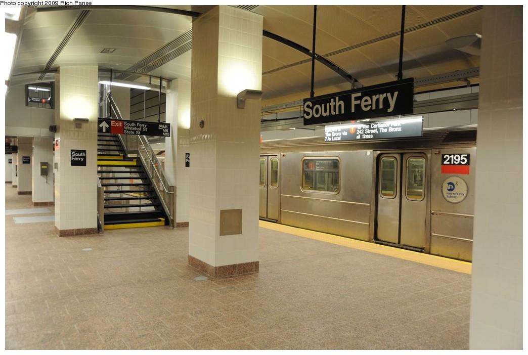 (192k, 1044x702)<br><b>Country:</b> United States<br><b>City:</b> New York<br><b>System:</b> New York City Transit<br><b>Line:</b> IRT West Side Line<br><b>Location:</b> South Ferry (New Station) <br><b>Route:</b> 1<br><b>Car:</b> R-62A (Bombardier, 1984-1987)  2195 <br><b>Photo by:</b> Richard Panse<br><b>Date:</b> 3/16/2009<br><b>Viewed (this week/total):</b> 0 / 1587