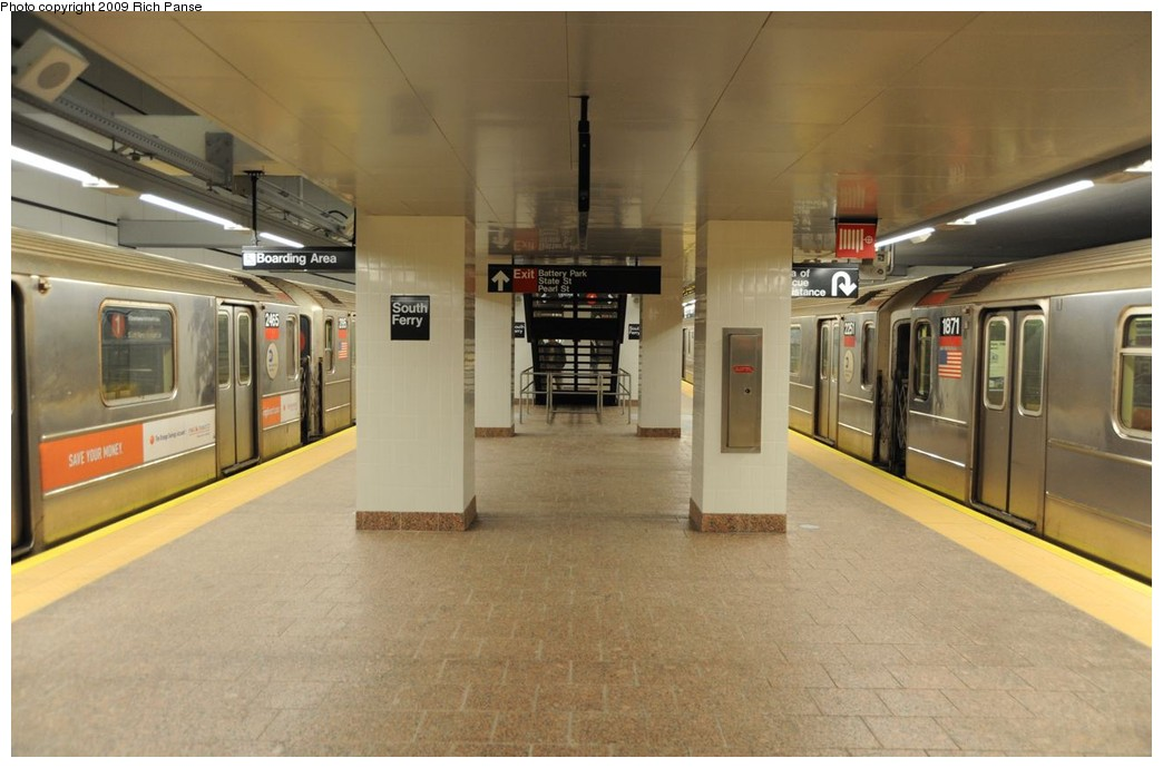 (154k, 1044x690)<br><b>Country:</b> United States<br><b>City:</b> New York<br><b>System:</b> New York City Transit<br><b>Line:</b> IRT West Side Line<br><b>Location:</b> South Ferry (New Station) <br><b>Route:</b> 1<br><b>Car:</b> R-62A (Bombardier, 1984-1987)  2465/1871 <br><b>Photo by:</b> Richard Panse<br><b>Date:</b> 3/16/2009<br><b>Viewed (this week/total):</b> 0 / 1748