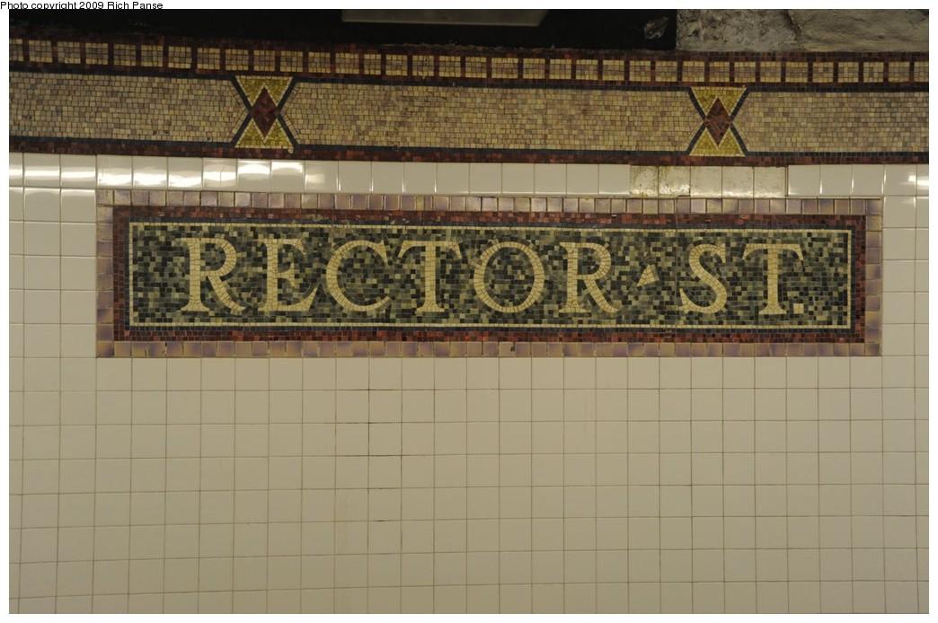(165k, 1044x694)<br><b>Country:</b> United States<br><b>City:</b> New York<br><b>System:</b> New York City Transit<br><b>Line:</b> IRT West Side Line<br><b>Location:</b> Rector Street <br><b>Photo by:</b> Richard Panse<br><b>Date:</b> 3/16/2009<br><b>Notes:</b> Mosaic tile.<br><b>Viewed (this week/total):</b> 4 / 1293