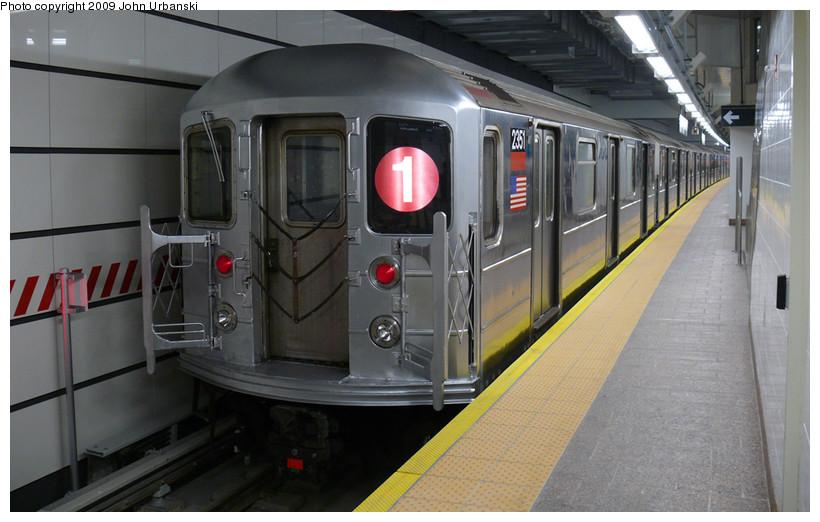 (151k, 820x522)<br><b>Country:</b> United States<br><b>City:</b> New York<br><b>System:</b> New York City Transit<br><b>Line:</b> IRT West Side Line<br><b>Location:</b> South Ferry (New Station)<br><b>Route:</b> 1<br><b>Car:</b> R-62A (Bombardier, 1984-1987) 2351 <br><b>Photo by:</b> John Urbanski<br><b>Date:</b> 3/16/2009<br><b>Viewed (this week/total):</b> 1 / 2118