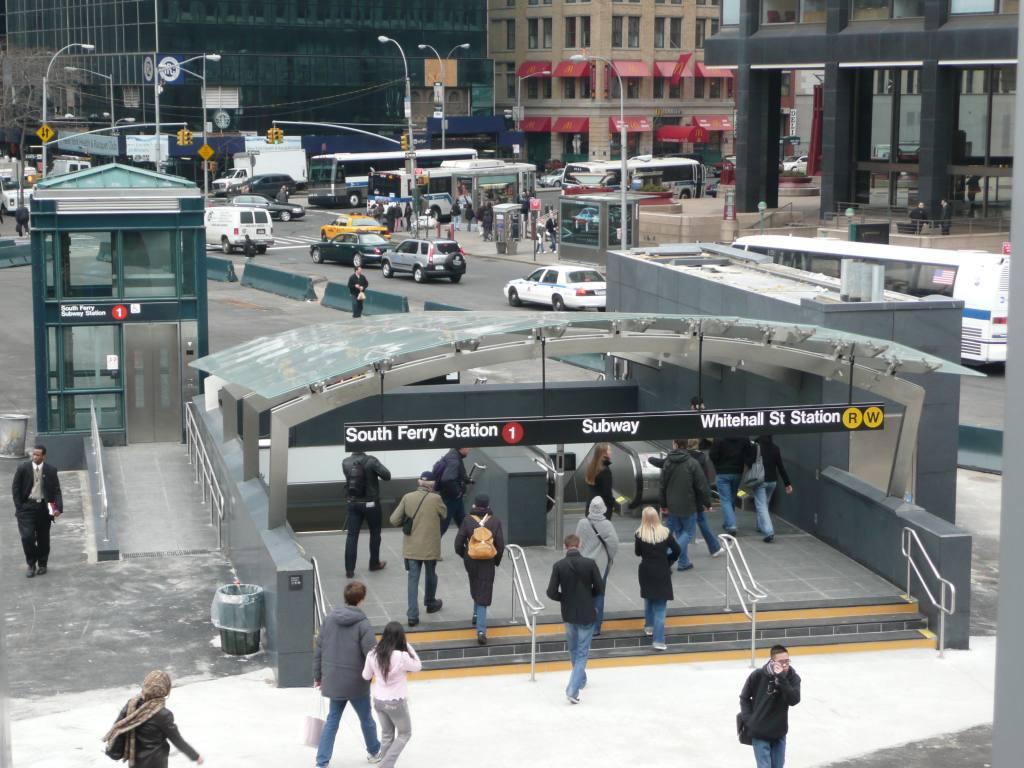 (146k, 1024x768)<br><b>Country:</b> United States<br><b>City:</b> New York<br><b>System:</b> New York City Transit<br><b>Line:</b> IRT West Side Line<br><b>Location:</b> South Ferry (New Station) <br><b>Photo by:</b> Robbie Rosenfeld<br><b>Date:</b> 3/16/2009<br><b>Notes:</b> Canopy over entrance.<br><b>Viewed (this week/total):</b> 3 / 2317
