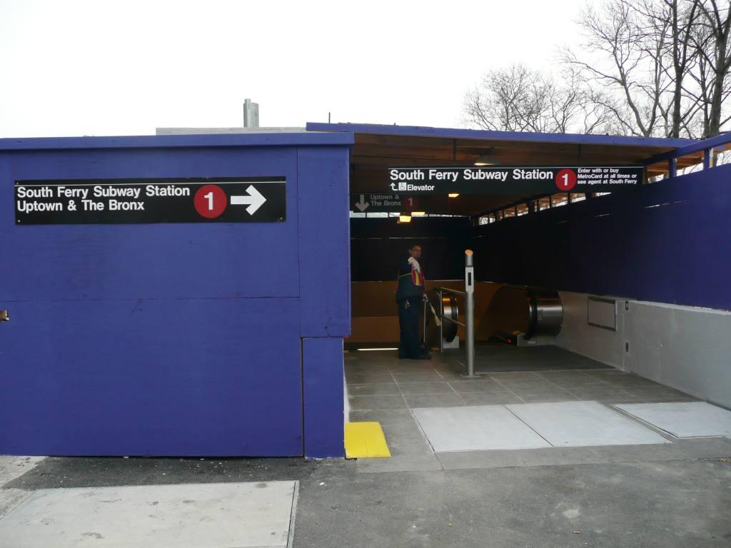 (75k, 1024x768)<br><b>Country:</b> United States<br><b>City:</b> New York<br><b>System:</b> New York City Transit<br><b>Line:</b> IRT West Side Line<br><b>Location:</b> South Ferry (New Station) <br><b>Photo by:</b> Robbie Rosenfeld<br><b>Date:</b> 3/16/2009<br><b>Notes:</b> Secondary entrance with escalator.<br><b>Viewed (this week/total):</b> 2 / 1736