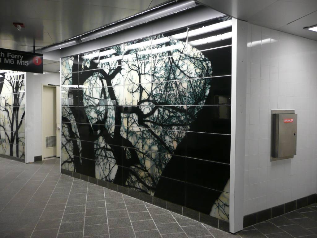 (125k, 1024x768)<br><b>Country:</b> United States<br><b>City:</b> New York<br><b>System:</b> New York City Transit<br><b>Line:</b> IRT West Side Line<br><b>Location:</b> South Ferry (New Station) <br><b>Photo by:</b> Robbie Rosenfeld<br><b>Date:</b> 3/16/2009<br><b>Artwork:</b> <i>See It Split, See It Change</i>,  Doug Starn/Mike Starn (2007).<br><b>Viewed (this week/total):</b> 2 / 1087