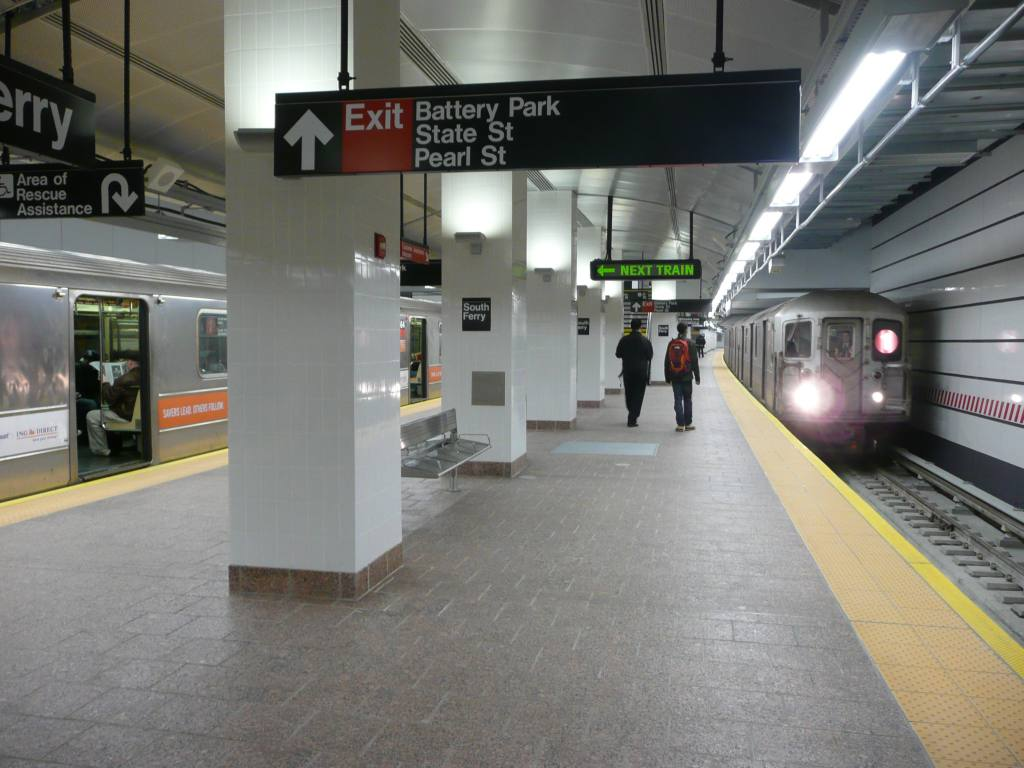 (115k, 1024x768)<br><b>Country:</b> United States<br><b>City:</b> New York<br><b>System:</b> New York City Transit<br><b>Line:</b> IRT West Side Line<br><b>Location:</b> South Ferry (New Station) <br><b>Route:</b> 1<br><b>Car:</b> R-62A (Bombardier, 1984-1987)   <br><b>Photo by:</b> Robbie Rosenfeld<br><b>Date:</b> 3/16/2009<br><b>Viewed (this week/total):</b> 2 / 2187