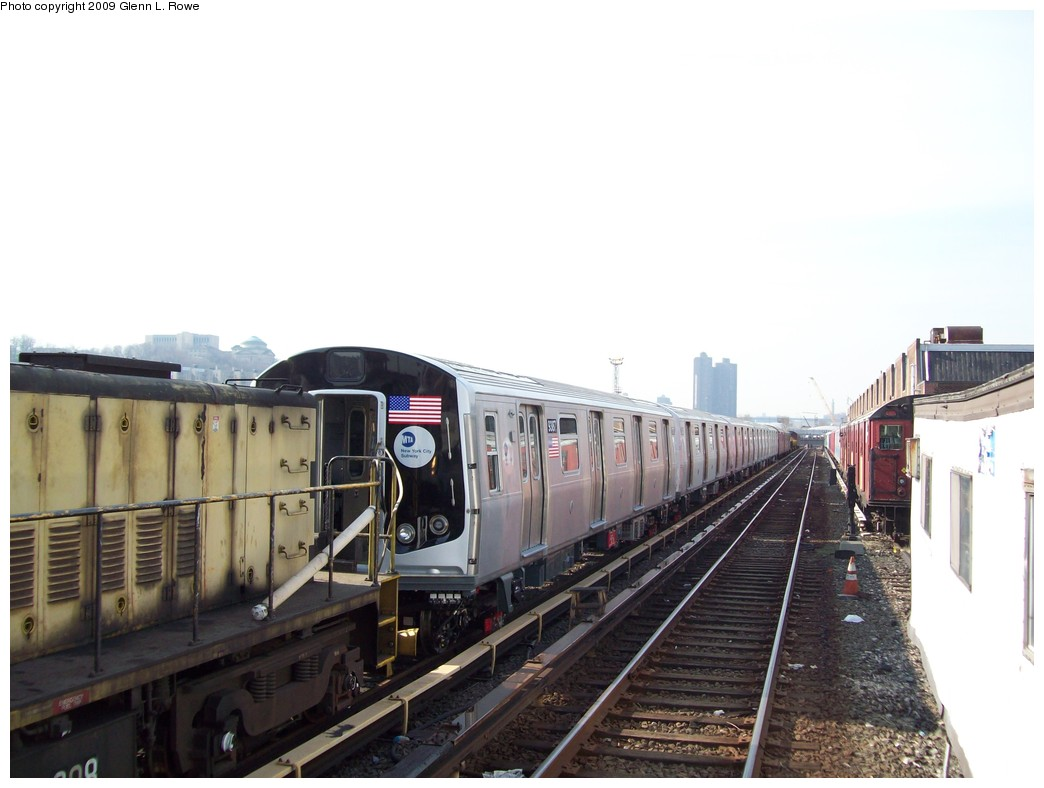 (161k, 1044x788)<br><b>Country:</b> United States<br><b>City:</b> New York<br><b>System:</b> New York City Transit<br><b>Location:</b> 207th Street Yard<br><b>Car:</b> R-160A (Option 1) (Alstom, 2008-2009, 5 car sets)  9387 <br><b>Photo by:</b> Glenn L. Rowe<br><b>Date:</b> 3/18/2009<br><b>Viewed (this week/total):</b> 0 / 2035
