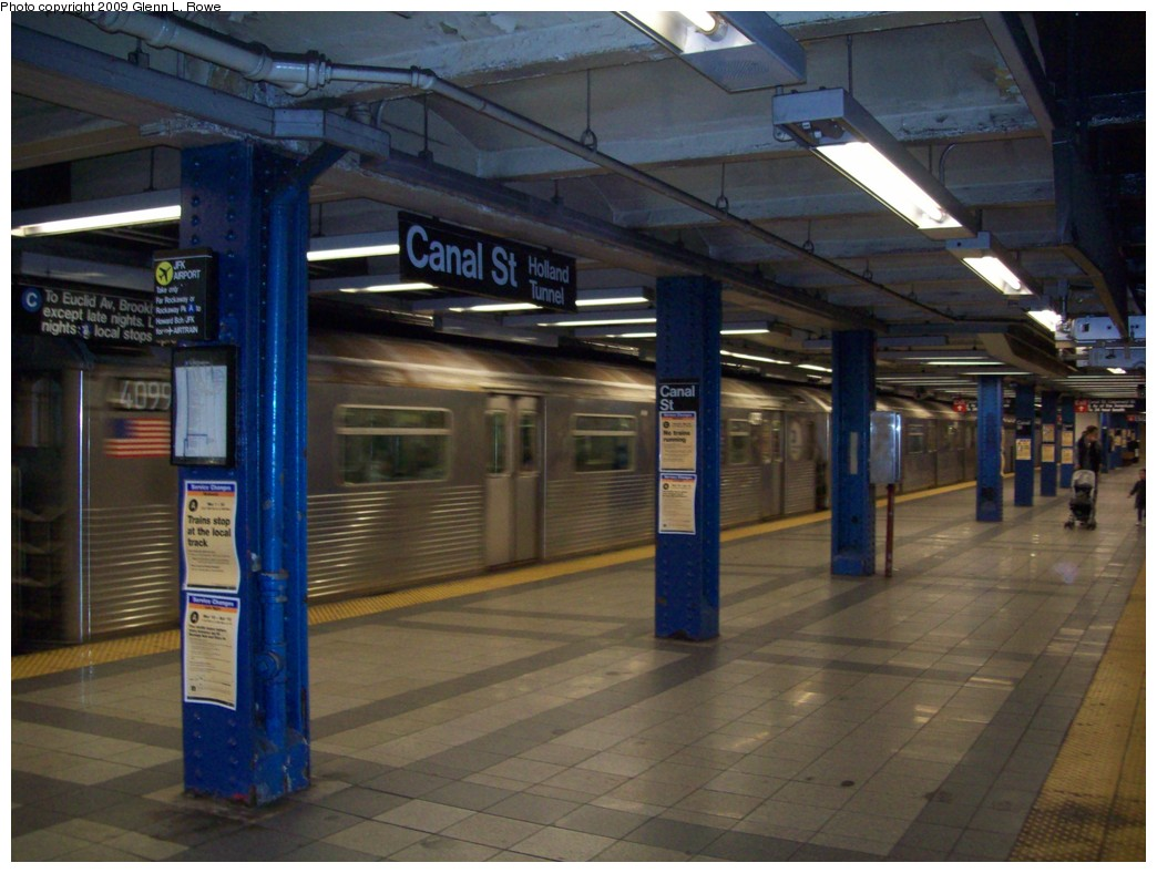 (197k, 1044x788)<br><b>Country:</b> United States<br><b>City:</b> New York<br><b>System:</b> New York City Transit<br><b>Line:</b> IND 8th Avenue Line<br><b>Location:</b> Canal Street-Holland Tunnel <br><b>Route:</b> A<br><b>Car:</b> R-38 (St. Louis, 1966-1967)  4099/4098 <br><b>Photo by:</b> Glenn L. Rowe<br><b>Date:</b> 3/18/2009<br><b>Notes:</b> Last 2 R38 in service, on their final day--Leaving Canal St. SB on the 1226 C 168 to EUC. 4098/9 would be removed from service on 3/19/2009.<br><b>Viewed (this week/total):</b> 1 / 2675