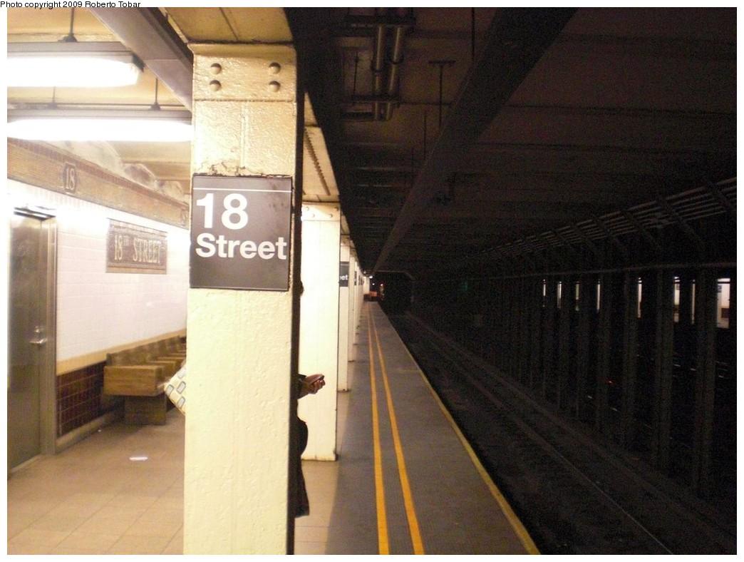 (225k, 1044x788)<br><b>Country:</b> United States<br><b>City:</b> New York<br><b>System:</b> New York City Transit<br><b>Line:</b> IRT West Side Line<br><b>Location:</b> 18th Street <br><b>Photo by:</b> Roberto C. Tobar<br><b>Date:</b> 3/20/2009<br><b>Notes:</b> Platform view.<br><b>Viewed (this week/total):</b> 0 / 2212