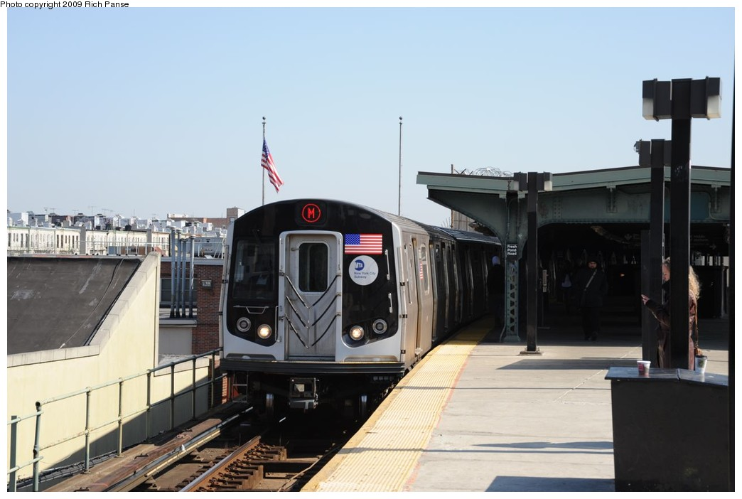 (170k, 1044x702)<br><b>Country:</b> United States<br><b>City:</b> New York<br><b>System:</b> New York City Transit<br><b>Line:</b> BMT Myrtle Avenue Line<br><b>Location:</b> Fresh Pond Road <br><b>Route:</b> M<br><b>Car:</b> R-160A-1 (Alstom, 2005-2008, 4 car sets)   <br><b>Photo by:</b> Richard Panse<br><b>Date:</b> 3/17/2009<br><b>Viewed (this week/total):</b> 1 / 1549