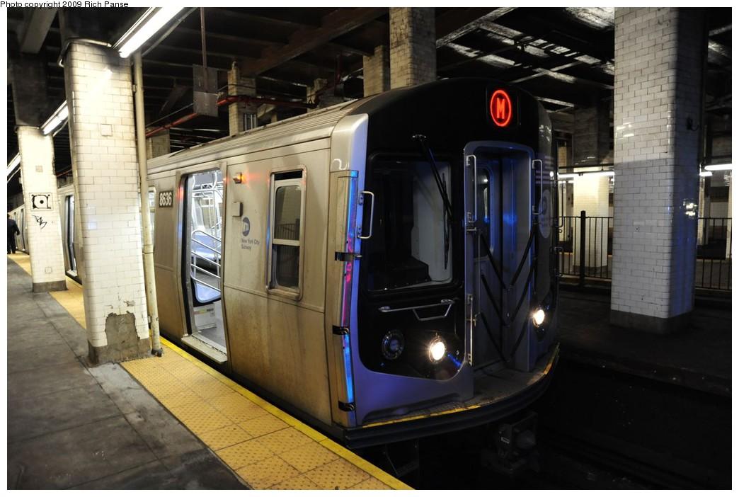 (204k, 1044x702)<br><b>Country:</b> United States<br><b>City:</b> New York<br><b>System:</b> New York City Transit<br><b>Line:</b> BMT Nassau Street/Jamaica Line<br><b>Location:</b> Chambers Street <br><b>Route:</b> M<br><b>Car:</b> R-160A-1 (Alstom, 2005-2008, 4 car sets)  8636 <br><b>Photo by:</b> Richard Panse<br><b>Date:</b> 3/17/2009<br><b>Viewed (this week/total):</b> 1 / 2245