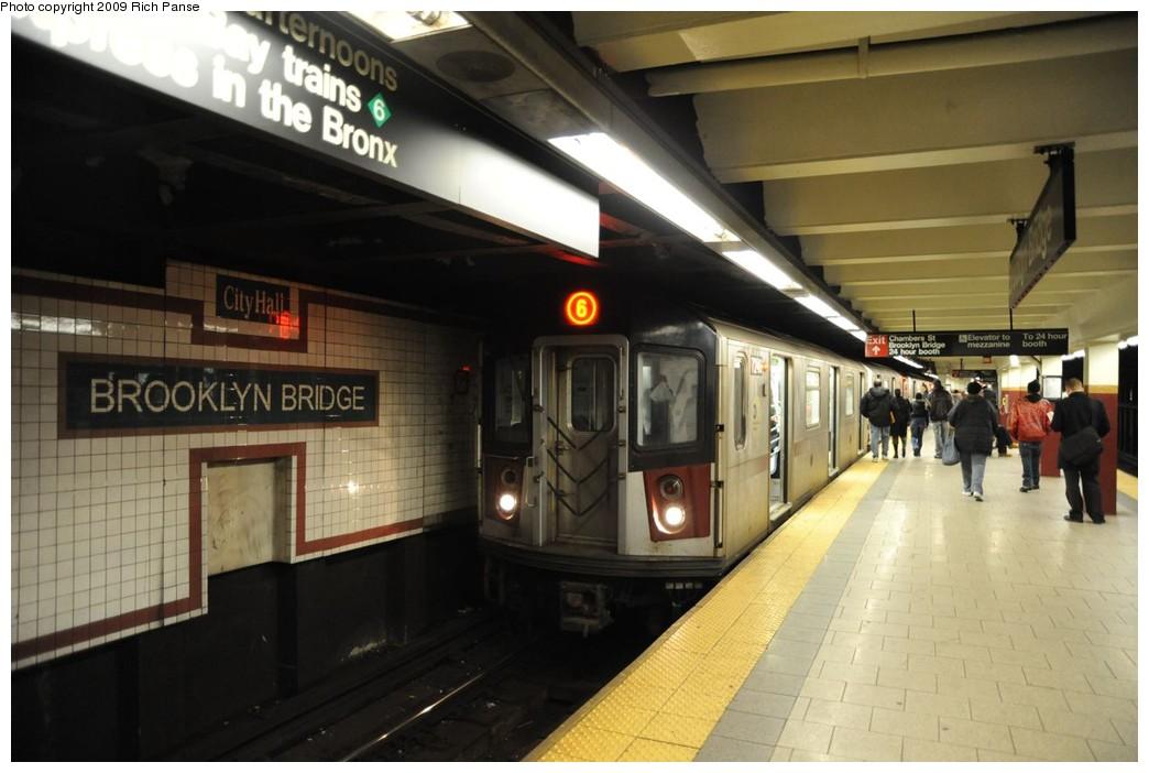 (190k, 1044x702)<br><b>Country:</b> United States<br><b>City:</b> New York<br><b>System:</b> New York City Transit<br><b>Line:</b> IRT East Side Line<br><b>Location:</b> Brooklyn Bridge/City Hall <br><b>Route:</b> 6<br><b>Car:</b> R-142 or R-142A (Number Unknown)  <br><b>Photo by:</b> Richard Panse<br><b>Date:</b> 3/17/2009<br><b>Viewed (this week/total):</b> 0 / 2230