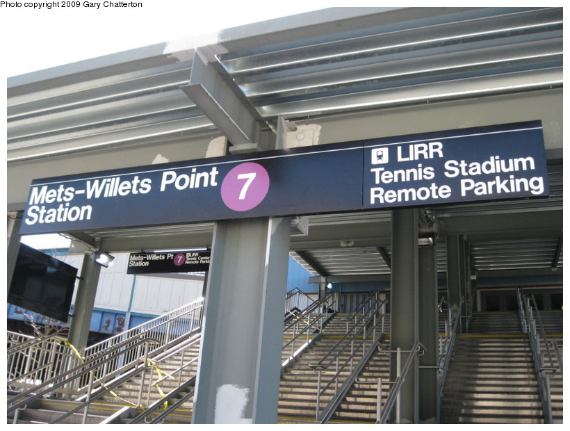 (142k, 820x620)<br><b>Country:</b> United States<br><b>City:</b> New York<br><b>System:</b> New York City Transit<br><b>Line:</b> IRT Flushing Line<br><b>Location:</b> Willets Point/Mets (fmr. Shea Stadium) <br><b>Photo by:</b> Gary Chatterton<br><b>Date:</b> 3/21/2009<br><b>Notes:</b> New stairs & signs at Willets Pt.<br><b>Viewed (this week/total):</b> 0 / 1563