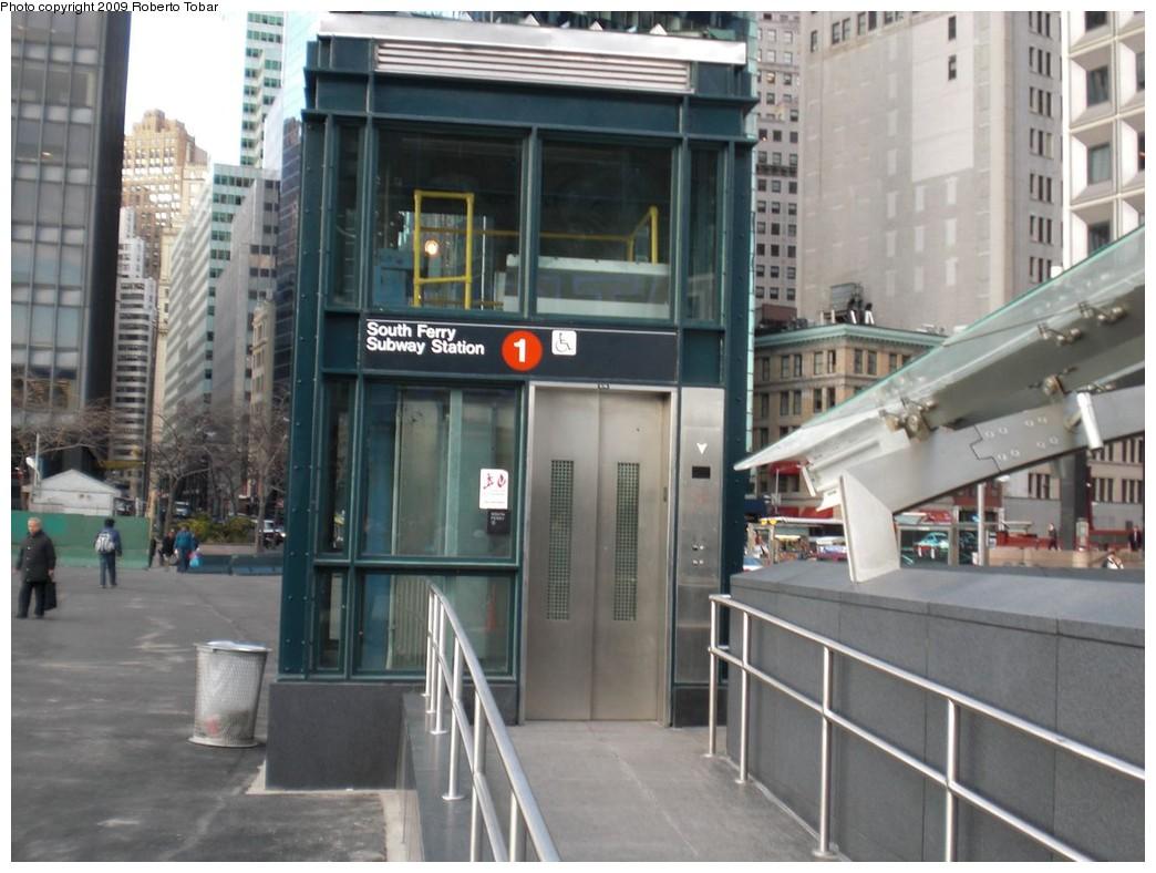(225k, 1044x788)<br><b>Country:</b> United States<br><b>City:</b> New York<br><b>System:</b> New York City Transit<br><b>Line:</b> IRT West Side Line<br><b>Location:</b> South Ferry (New Station) <br><b>Photo by:</b> Roberto C. Tobar<br><b>Date:</b> 3/20/2009<br><b>Notes:</b> Elevator.<br><b>Viewed (this week/total):</b> 0 / 2072