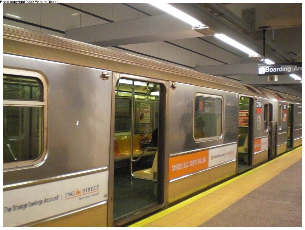 (240k, 1044x788)<br><b>Country:</b> United States<br><b>City:</b> New York<br><b>System:</b> New York City Transit<br><b>Line:</b> IRT West Side Line<br><b>Location:</b> South Ferry (New Station) <br><b>Route:</b> 1<br><b>Car:</b> R-62A (Bombardier, 1984-1987)  2280 <br><b>Photo by:</b> Roberto C. Tobar<br><b>Date:</b> 3/20/2009<br><b>Viewed (this week/total):</b> 0 / 1372