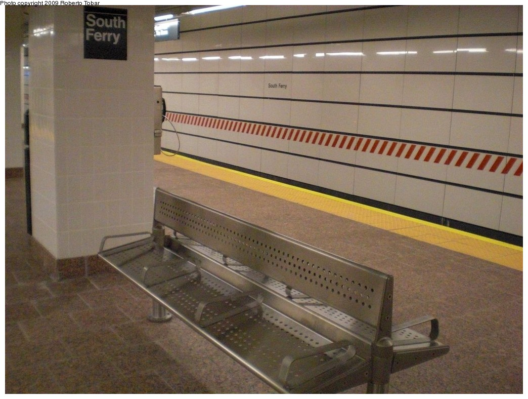 (236k, 1044x788)<br><b>Country:</b> United States<br><b>City:</b> New York<br><b>System:</b> New York City Transit<br><b>Line:</b> IRT West Side Line<br><b>Location:</b> South Ferry (New Station) <br><b>Photo by:</b> Roberto C. Tobar<br><b>Date:</b> 3/20/2009<br><b>Notes:</b> Bench on platform.<br><b>Viewed (this week/total):</b> 1 / 1815