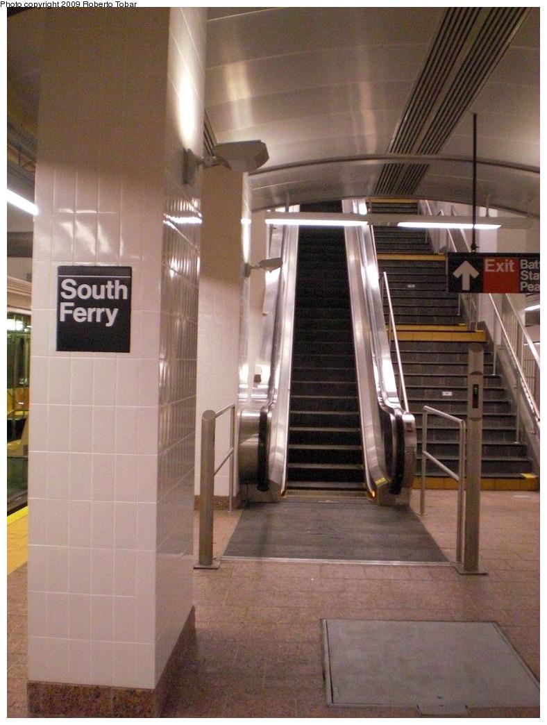 (237k, 788x1044)<br><b>Country:</b> United States<br><b>City:</b> New York<br><b>System:</b> New York City Transit<br><b>Line:</b> IRT West Side Line<br><b>Location:</b> South Ferry (New Station) <br><b>Photo by:</b> Roberto C. Tobar<br><b>Date:</b> 3/20/2009<br><b>Notes:</b> Escalator.<br><b>Viewed (this week/total):</b> 2 / 1068