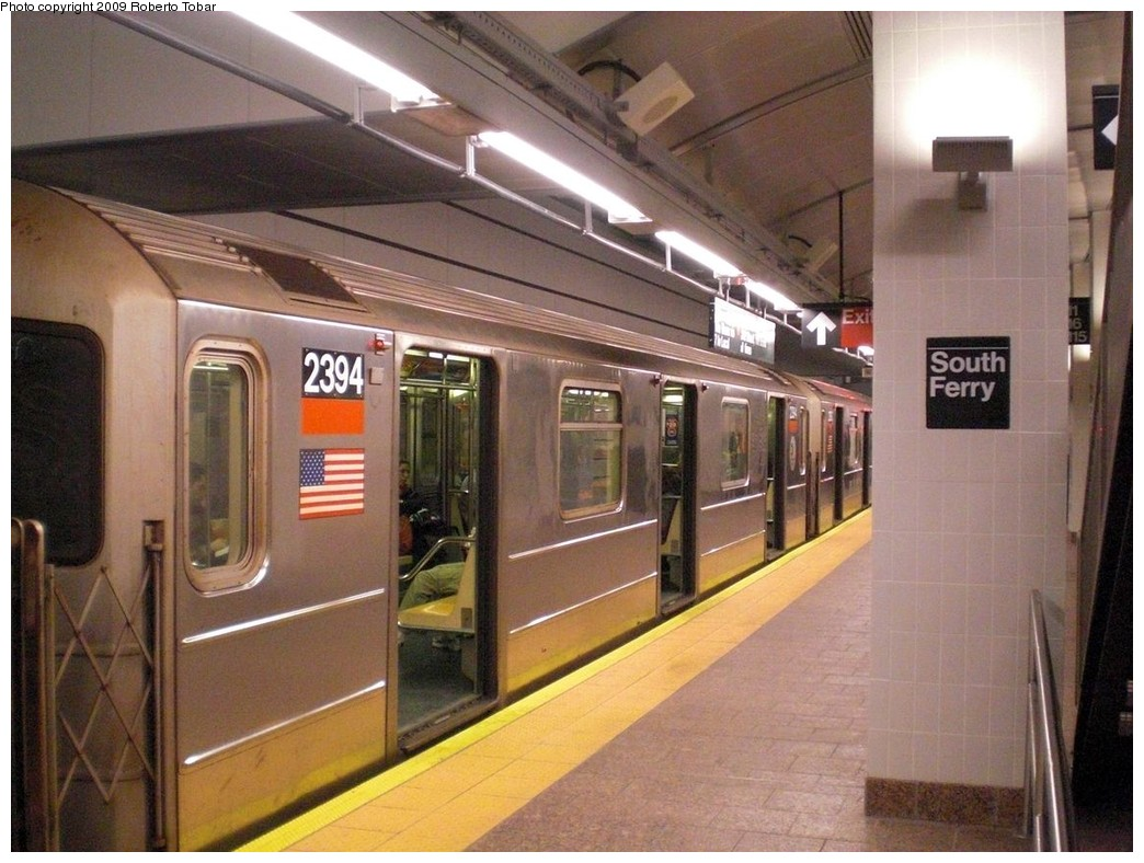 (248k, 1044x788)<br><b>Country:</b> United States<br><b>City:</b> New York<br><b>System:</b> New York City Transit<br><b>Line:</b> IRT West Side Line<br><b>Location:</b> South Ferry (New Station) <br><b>Route:</b> 1<br><b>Car:</b> R-62A (Bombardier, 1984-1987)  2394 <br><b>Photo by:</b> Roberto C. Tobar<br><b>Date:</b> 3/20/2009<br><b>Viewed (this week/total):</b> 0 / 1130
