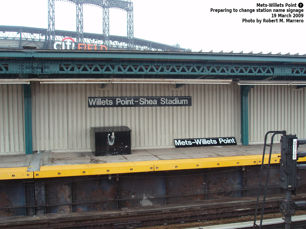 (338k, 1024x768)<br><b>Country:</b> United States<br><b>City:</b> New York<br><b>System:</b> New York City Transit<br><b>Line:</b> IRT Flushing Line<br><b>Location:</b> Willets Point/Mets (fmr. Shea Stadium) <br><b>Photo by:</b> Robert Marrero<br><b>Date:</b> 3/19/2009<br><b>Notes:</b> New signage at Willets Point.<br><b>Viewed (this week/total):</b> 0 / 1951