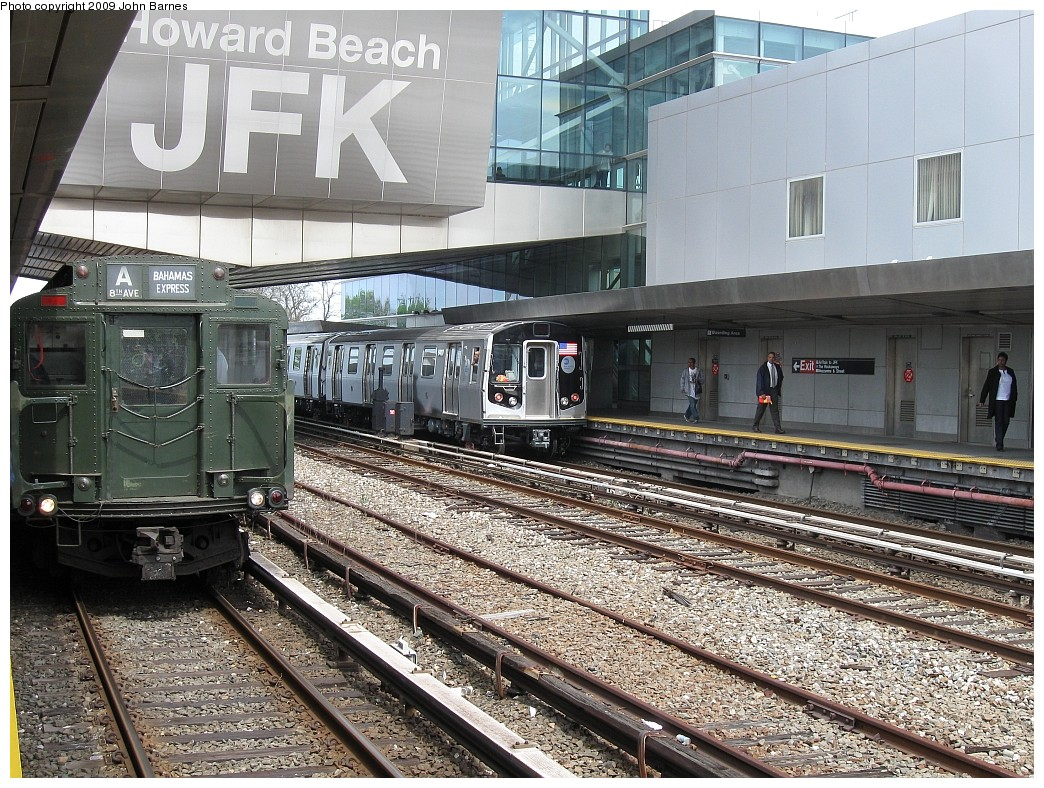 (318k, 1044x788)<br><b>Country:</b> United States<br><b>City:</b> New York<br><b>System:</b> New York City Transit<br><b>Line:</b> IND Rockaway<br><b>Location:</b> Howard Beach <br><b>Route:</b> Museum Train Service (A)<br><b>Car:</b> R-1 (American Car & Foundry, 1930-1931) 100 <br><b>Photo by:</b> John Barnes<br><b>Date:</b> 4/29/2009<br><b>Notes:</b> Duke Ellington Day promotion by Jet Blue & the Bahamas. With R-160 9427 (Testing).<br><b>Viewed (this week/total):</b> 1 / 1869