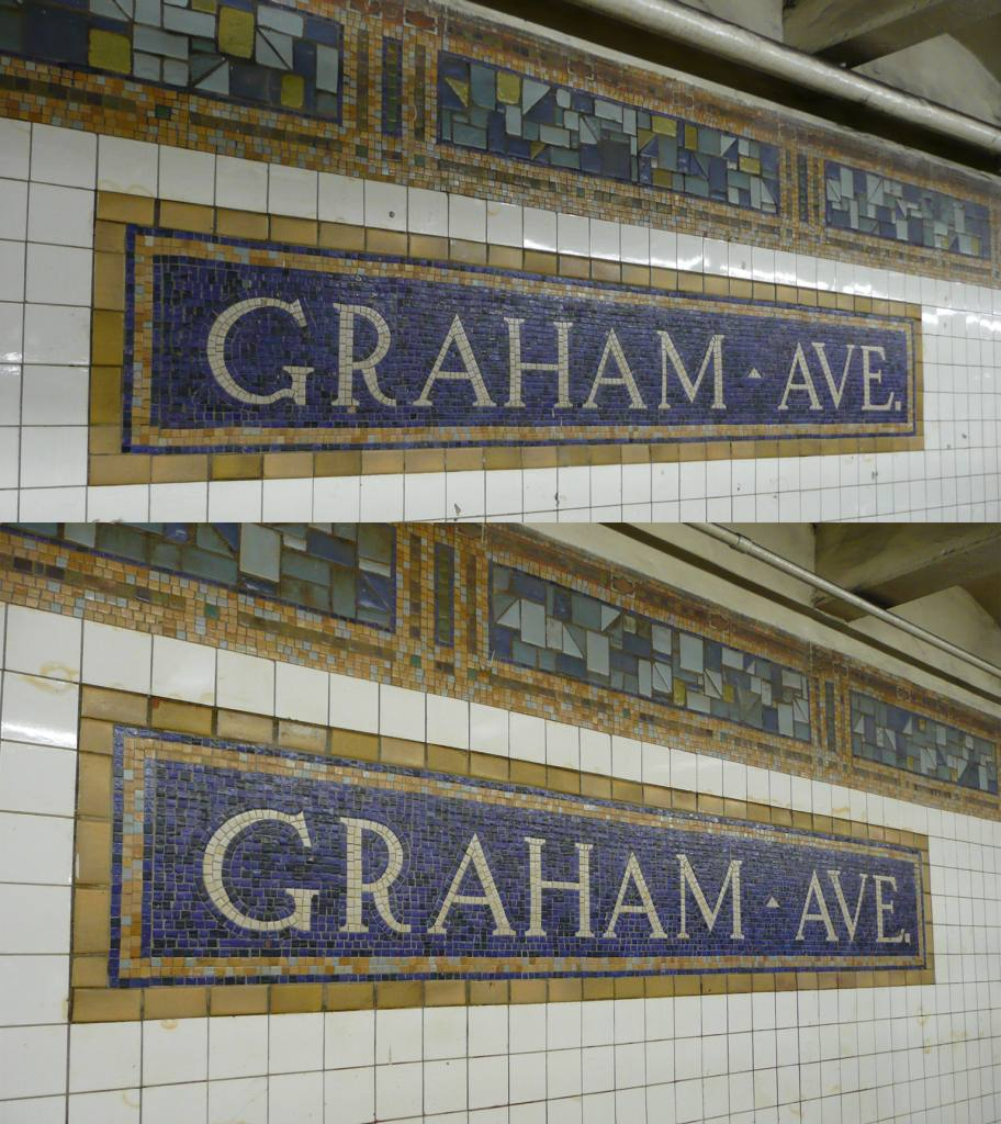 (152k, 912x1024)<br><b>Country:</b> United States<br><b>City:</b> New York<br><b>System:</b> New York City Transit<br><b>Line:</b> BMT Canarsie Line<br><b>Location:</b> Graham Avenue <br><b>Photo by:</b> Robbie Rosenfeld<br><b>Date:</b> 3/18/2009<br><b>Notes:</b> Mosaic name tablets.<br><b>Viewed (this week/total):</b> 0 / 1170