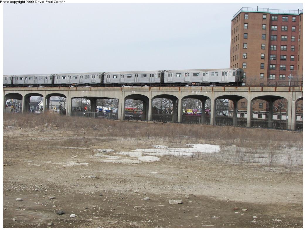 (298k, 1044x788)<br><b>Country:</b> United States<br><b>City:</b> New York<br><b>System:</b> New York City Transit<br><b>Line:</b> IND Rockaway<br><b>Location:</b> Beach 67th Street/Gaston Avenue <br><b>Route:</b> A<br><b>Car:</b> R-32 (Budd, 1964)  3856 <br><b>Photo by:</b> David-Paul Gerber<br><b>Date:</b> 3/14/2009<br><b>Viewed (this week/total):</b> 1 / 1852