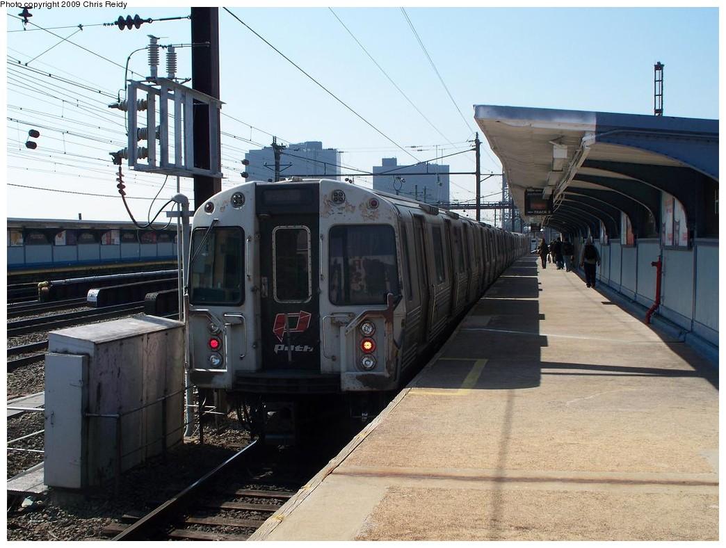 (224k, 1044x788)<br><b>Country:</b> United States<br><b>City:</b> Harrison, NJ<br><b>System:</b> PATH<br><b>Location:</b> Harrison <br><b>Car:</b> PATH PA-4 (Kawasaki, 1986)  857 <br><b>Photo by:</b> Chris Reidy<br><b>Date:</b> 3/17/2009<br><b>Viewed (this week/total):</b> 0 / 1174