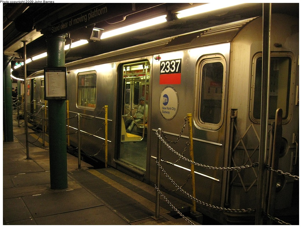 (251k, 1044x788)<br><b>Country:</b> United States<br><b>City:</b> New York<br><b>System:</b> New York City Transit<br><b>Line:</b> IRT West Side Line<br><b>Location:</b> South Ferry (Outer Loop Station) <br><b>Route:</b> 1<br><b>Car:</b> R-62A (Bombardier, 1984-1987)  2337 <br><b>Photo by:</b> John Barnes<br><b>Date:</b> 3/15/2009<br><b>Viewed (this week/total):</b> 0 / 2725