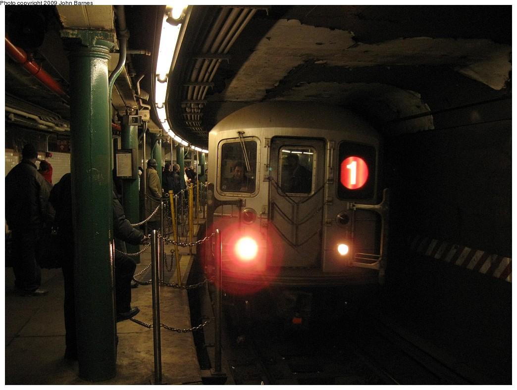 (205k, 1044x788)<br><b>Country:</b> United States<br><b>City:</b> New York<br><b>System:</b> New York City Transit<br><b>Line:</b> IRT West Side Line<br><b>Location:</b> South Ferry (Outer Loop Station) <br><b>Route:</b> 1<br><b>Car:</b> R-62A (Bombardier, 1984-1987)  1826 <br><b>Photo by:</b> John Barnes<br><b>Date:</b> 3/15/2009<br><b>Viewed (this week/total):</b> 2 / 2696