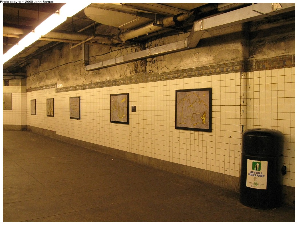 (232k, 1044x788)<br><b>Country:</b> United States<br><b>City:</b> New York<br><b>System:</b> New York City Transit<br><b>Line:</b> BMT Canarsie Line<br><b>Location:</b> 6th Avenue <br><b>Photo by:</b> John Barnes<br><b>Date:</b> 3/15/2009<br><b>Artwork:</b> <i>MTA Jewels</i>, Jennifer Kotter (1993).<br><b>Viewed (this week/total):</b> 0 / 1348