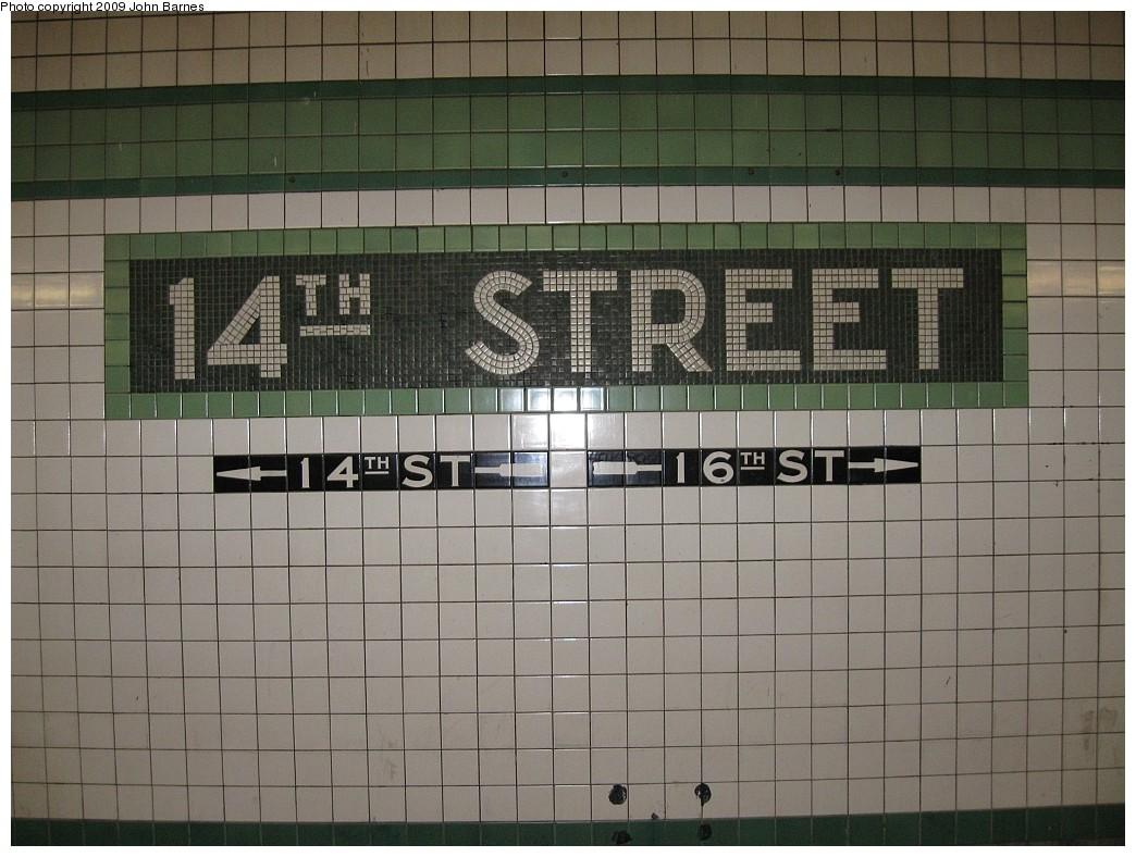 (212k, 1044x788)<br><b>Country:</b> United States<br><b>City:</b> New York<br><b>System:</b> New York City Transit<br><b>Line:</b> IND 6th Avenue Line<br><b>Location:</b> 14th Street <br><b>Photo by:</b> John Barnes<br><b>Date:</b> 3/15/2009<br><b>Notes:</b> Mosaic name tablet.<br><b>Viewed (this week/total):</b> 0 / 961