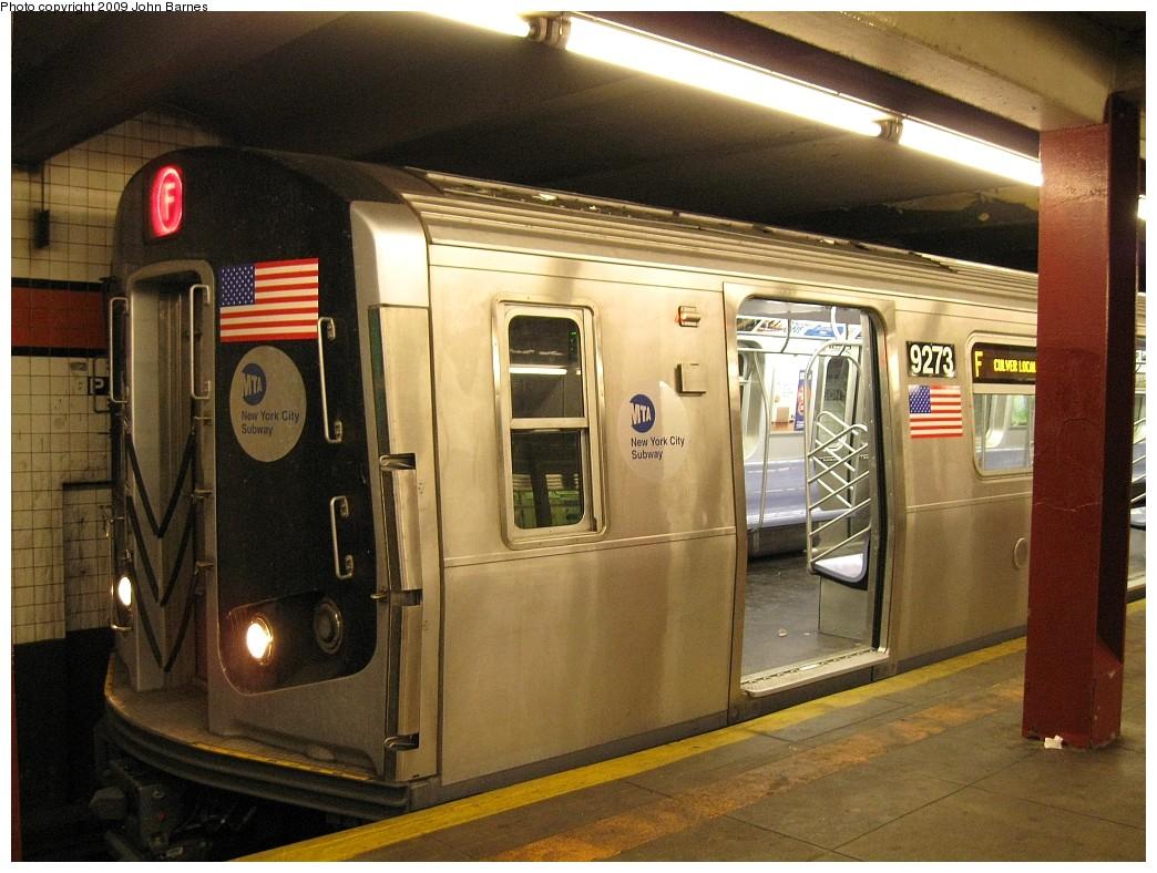 (233k, 1044x788)<br><b>Country:</b> United States<br><b>City:</b> New York<br><b>System:</b> New York City Transit<br><b>Line:</b> IND Queens Boulevard Line<br><b>Location:</b> Parsons Boulevard <br><b>Route:</b> F<br><b>Car:</b> R-160A (Option 1) (Alstom, 2008-2009, 5 car sets)  9273 <br><b>Photo by:</b> John Barnes<br><b>Date:</b> 3/24/2009<br><b>Notes:</b> First day of R160-A in F service.<br><b>Viewed (this week/total):</b> 2 / 2278