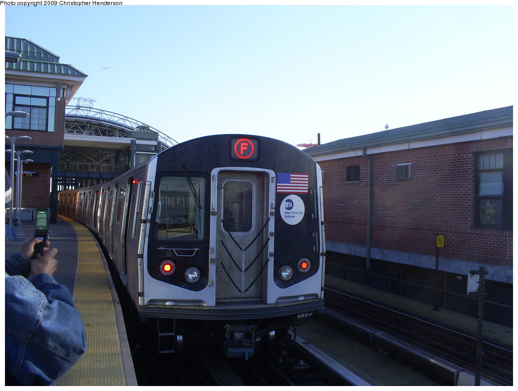 (219k, 1044x788)<br><b>Country:</b> United States<br><b>City:</b> New York<br><b>System:</b> New York City Transit<br><b>Location:</b> Coney Island/Stillwell Avenue<br><b>Route:</b> F<br><b>Car:</b> R-160A (Option 1) (Alstom, 2008-2009, 5 car sets)  9273 <br><b>Photo by:</b> Christopher Henderson<br><b>Date:</b> 3/24/2009<br><b>Notes:</b> The 1st day of R160-A on F service.<br><b>Viewed (this week/total):</b> 0 / 1716
